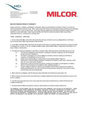 z - Cover Image: Milcor Access Access Doors Warranty 9/15